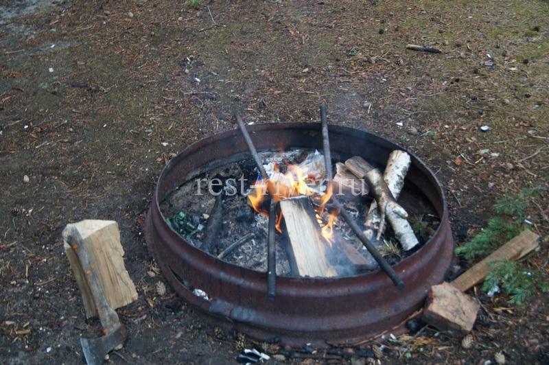 фото-мангал из обода диска колеса на котором приготовили сазана