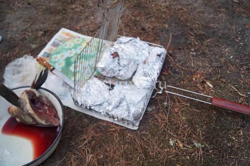 завёрнутые в фольгу порции сазана на решётке, Сазан на костре в фольге рецепт с фото