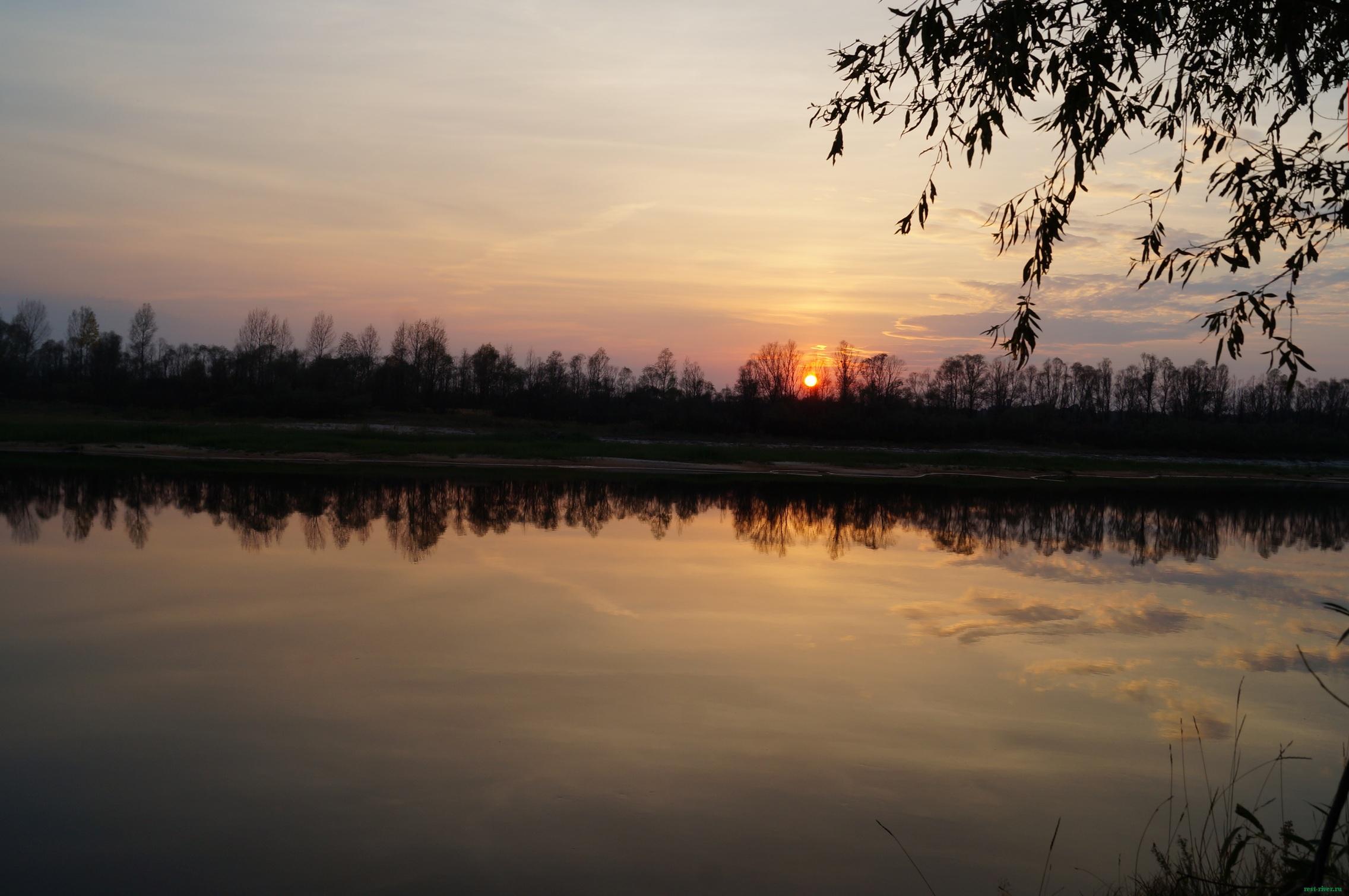 обои природе река - закат на реке