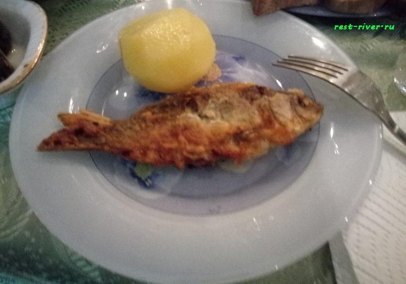 жаренный карасик на тарелке с картошкой