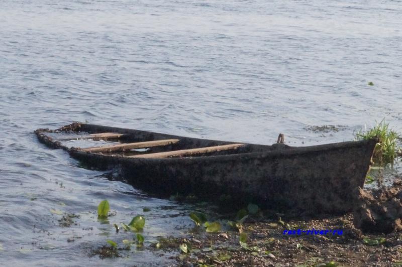 фото брошенная деревянная лодка в воде