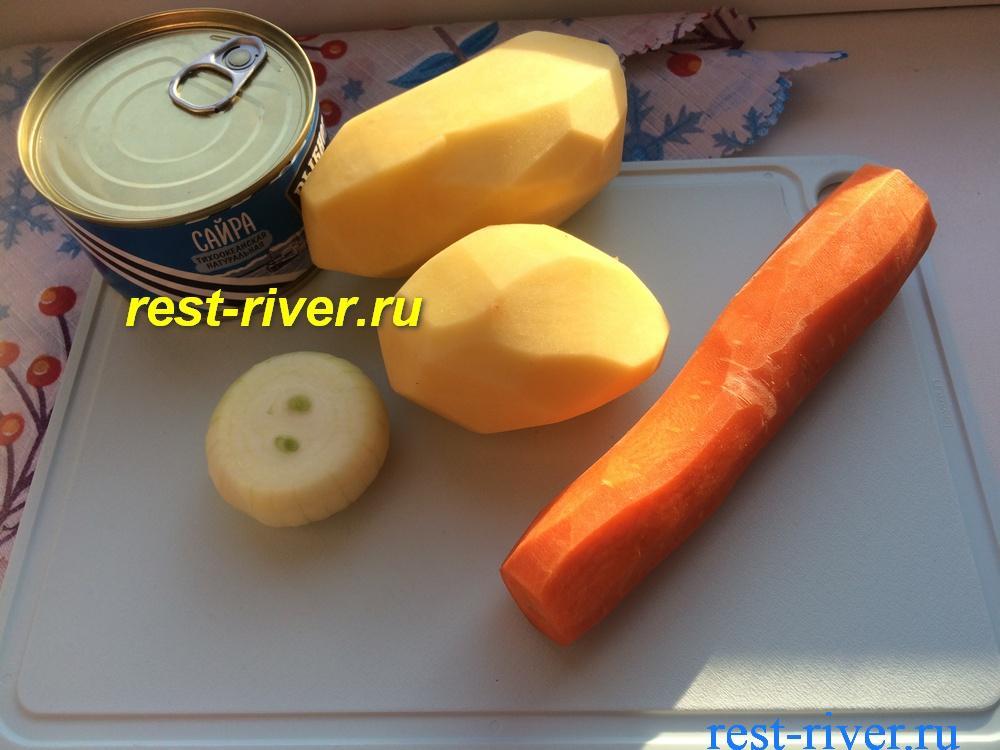 ингредиенты для супа из консервированной сайры